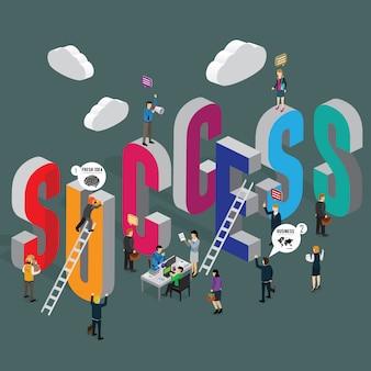 Concept isométrique de succès commercial