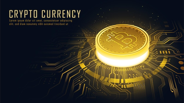 Concept isométrique de la technologie blockchain golden bitcoin adapté à la technologie future
