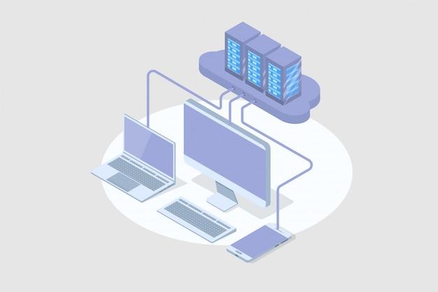 Concept isométrique de technologie de cloud computing 3d. illustration vectorielle.