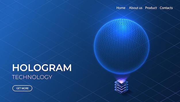 Concept isométrique de la technologie hologramme. sphère numérique futuriste. réseau quantique de haute technologie.