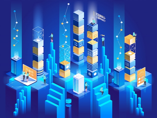 Concept isométrique de la technologie. illustration de la connexion des blocs numériques entre eux