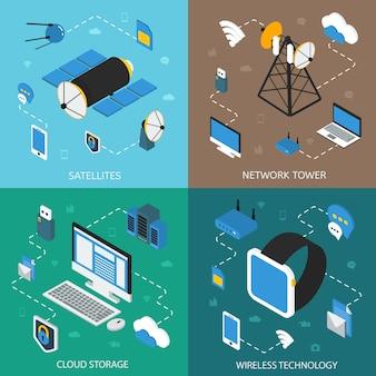 Concept isométrique de technologie sans fil