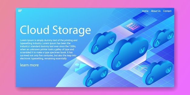 Concept isométrique de la technologie de stockage en nuage