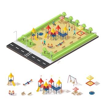 Concept isométrique de terrain de jeu pour enfants