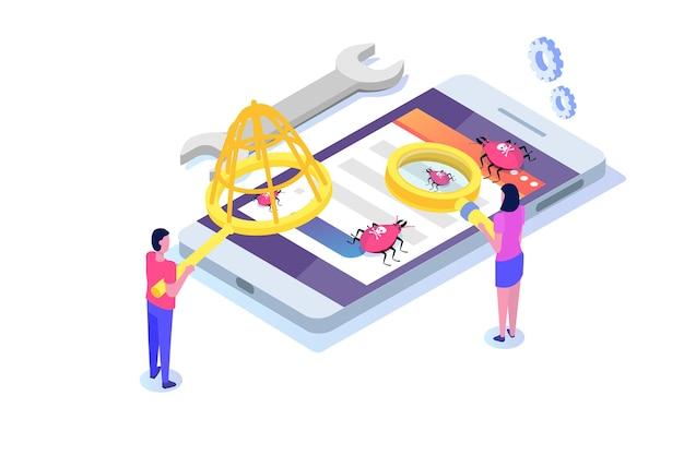 Concept isométrique de test de logiciel ou d'application. débogage du processus de développement.