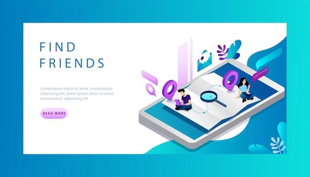 Concept isométrique de trouver des amis en ligne, des rencontres et des réseaux sociaux.