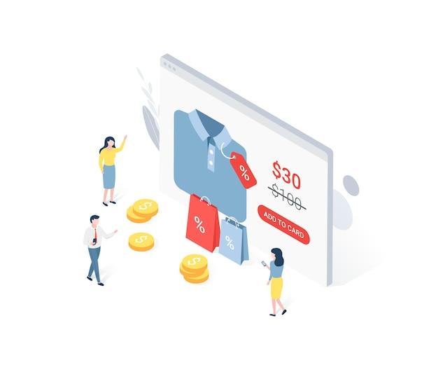 Concept isométrique de vente discount avec des personnages.