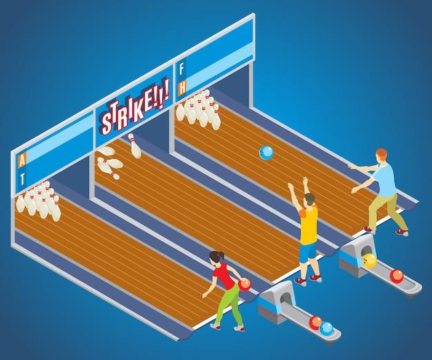 Concept de jeu de bowling isométrique