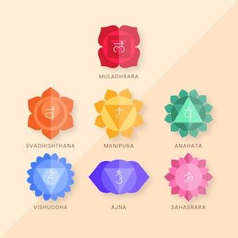 Concept de jeu de chakras colorés