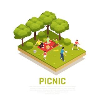Concept de jeu familial avec pique-nique familial dans les symboles du parc isométrique