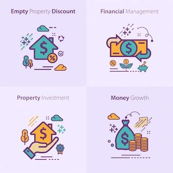 Concept de jeu d'icônes affaires et finances