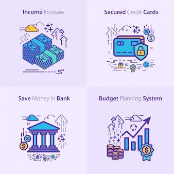 Concept de jeu d'icônes bancaire et financier
