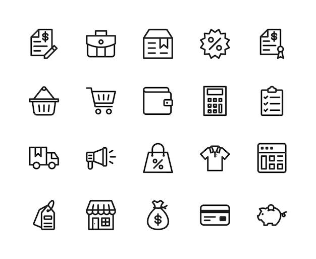 Concept de jeu d'icônes de commerce électronique.