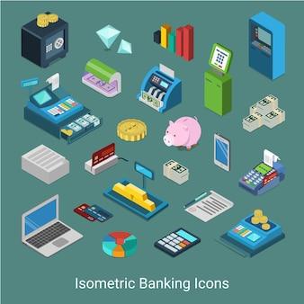 Concept de jeu d'icônes financières bancaires isométrique 3d plat