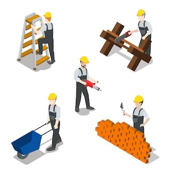 Concept de jeu d'icônes plat constructeur isométrique construction travailleur