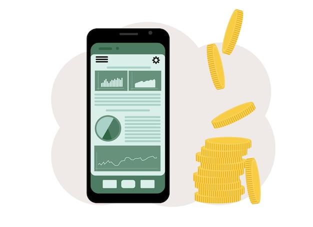 Le concept de jeu en ligne en bourse. téléphone avec des graphiques et un tas de pièces à côté