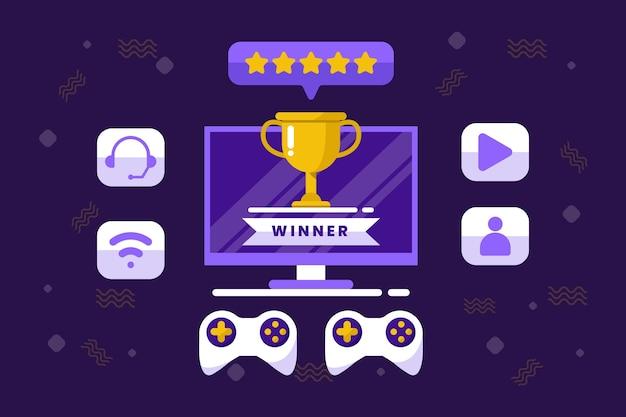 Concept de jeu en ligne gagnant