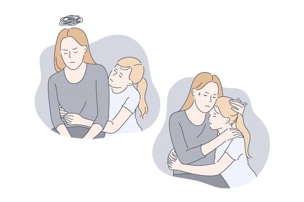 Concept de jeu de problème de relation mère et filles