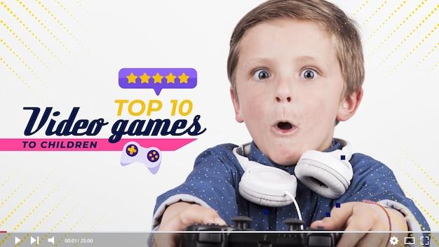 Concept de jeu vidéo miniature de youtube