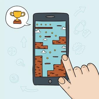 Concept de jeu vidéo sur téléphone mobile