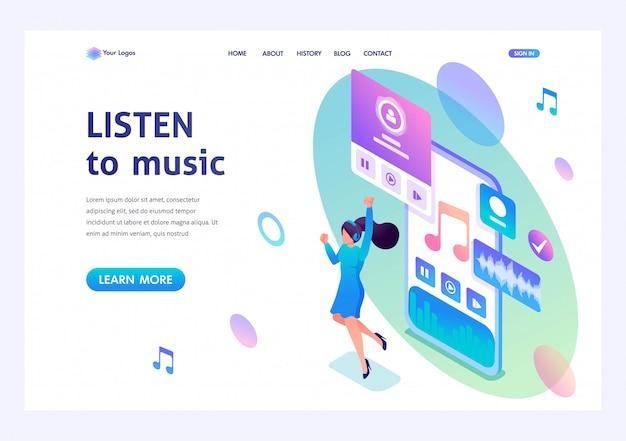 Concept la jeune fille écoute de la musique sur le smartphone via l'application