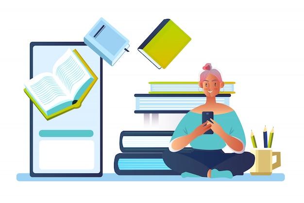 Concept avec jeune personnage féminin lisant e-book sur l'écran du smartphone.