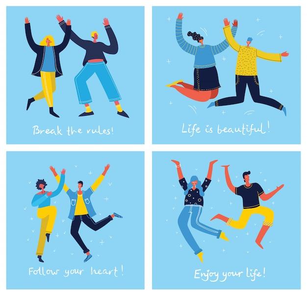 Concept de jeunes sautant sur fond bleu. carte d'illustration moderne élégante avec des adolescents heureux et masculins et citation de dessin à la main profitez de votre vie dans le style plat