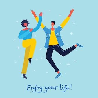 Concept de jeunes sautant sur fond bleu. carte d'illustration vectorielle moderne et élégante avec des adolescents heureux et masculins et une citation de dessin à la main profitez de votre vie dans le style plat
