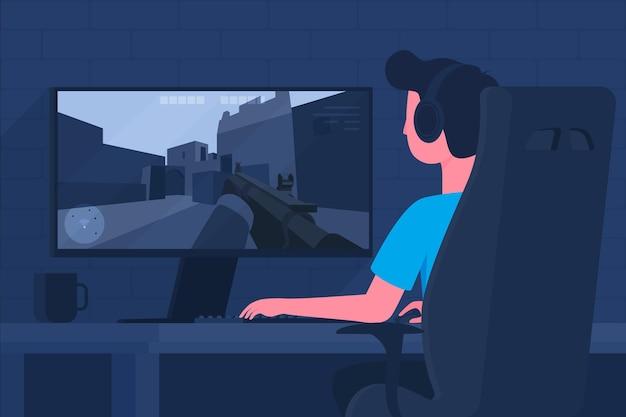 Concept de jeux en ligne avec homme jouant
