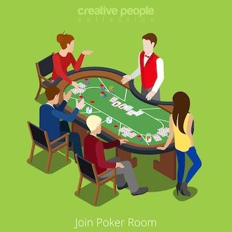 Concept de jointure de salle de poker isométrique. joueur de jeu de cartes de mélangeur jouer les enjeux de match.