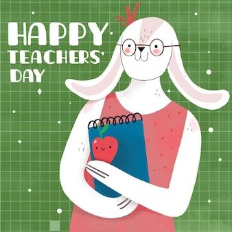 Concept de jour des enseignants dessinés à la main