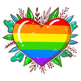Concept de jour de fierté avec coeur et feuilles