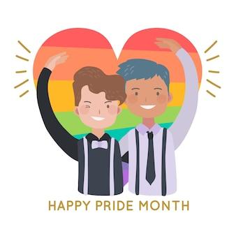 Concept de jour de fierté couple gay