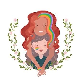 Concept de jour de fierté couple lesbien