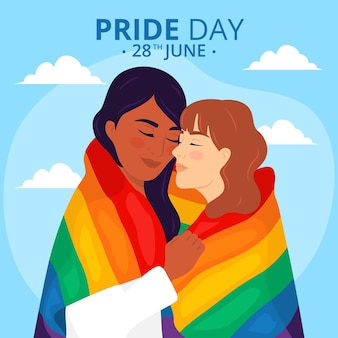 Concept de jour de fierté avec couple lesbien