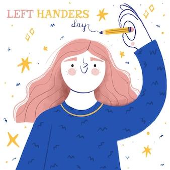 Concept de jour de gauchers dessinés à la main