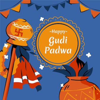 Concept de jour gudi padwa dessiné à la main