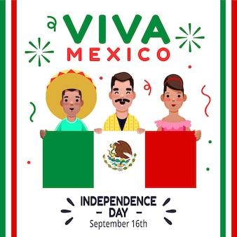 Concept de jour de l'indépendance plat mexique