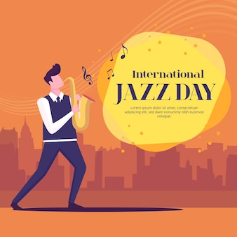 Concept de jour de jazz international design plat