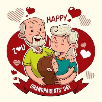 Concept de jour national des grands-parents dessiné à la main