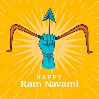 Concept de jour navami heureux ram dessiné à la main
