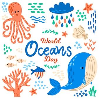 Concept de jour des océans dessiné à la main