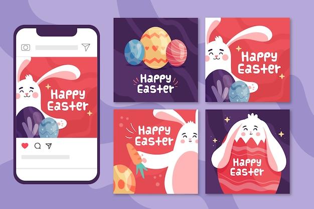 Concept de jour de pâques pour la collection de messages instagram
