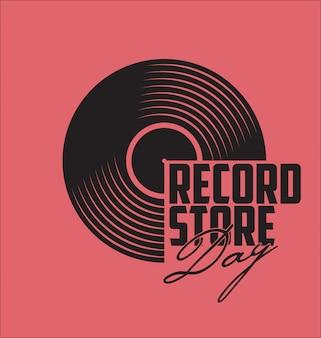 Concept de jour plat de disque vinyle noir