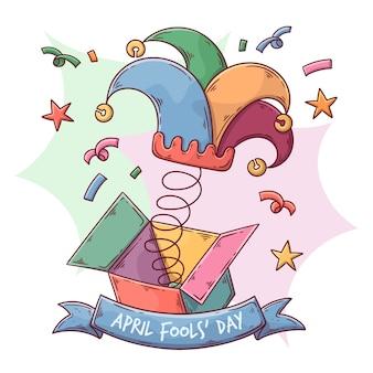 Concept de jour de poisson d'avril dessiné à la main