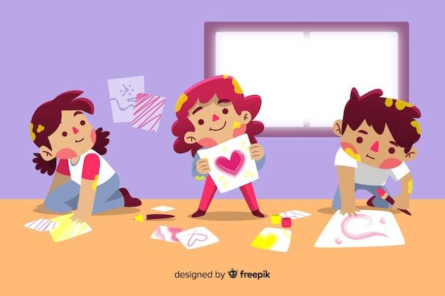 Concept de jour pour enfants dessiné à la main