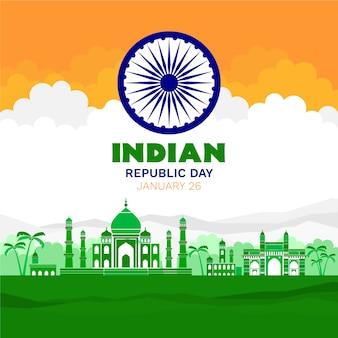 Concept de jour de la république indienne design plat