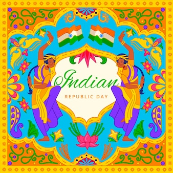 Concept de jour de république indienne dessiné à la main