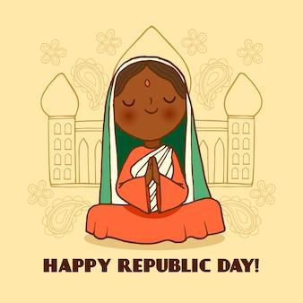 Concept de jour de république indienne dessinés à la main