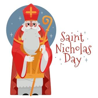 Concept de jour de saint nicolas design plat